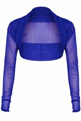 Women Full Mesh Sheer Chiffon Bolero Cropped Shrug Top Ladies Plus Size Cardigan