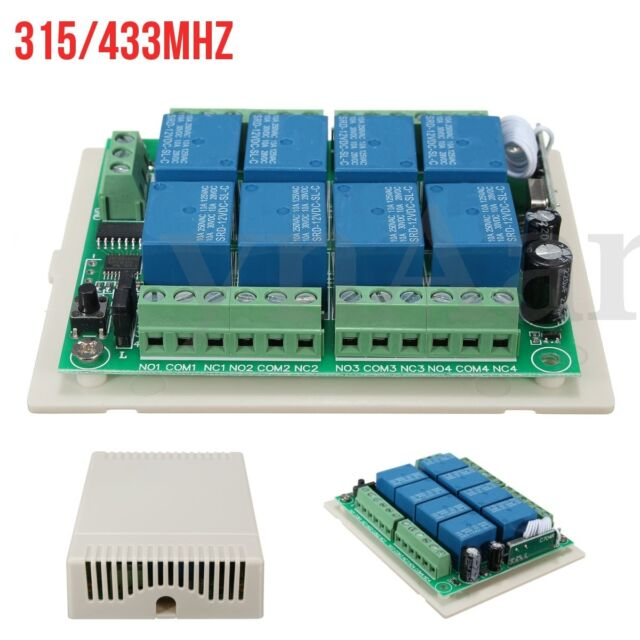 DC 12V 6-8CH Channel 315/433MHZ Wireless RF Remote Control Relay Switch Receiver