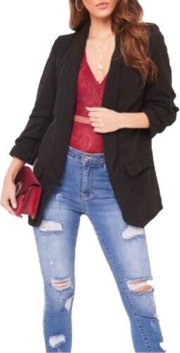 New Ladies Stylish Casual Frill Ruffle 3//4Sleeve Duster Coat Women Jacket Blazer