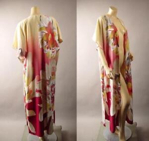 Japanese-Floral-Pattern-Vtg-y-20s-30s-Long-Maxi-Kimono-Robe-265-mv-Jacket-S-M-L