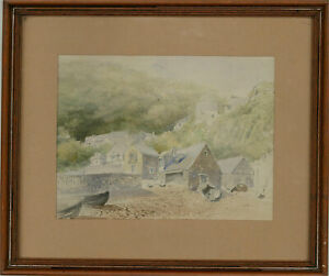 20th Century Watercolour - Coastal Town Scene with Boats