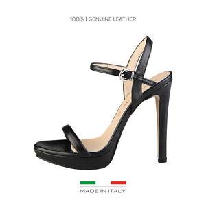 MADE in ITALIA Sandali 100% in Pelle Mod. MARCELLA Nero Lucido Tacco Alto 12 cm
