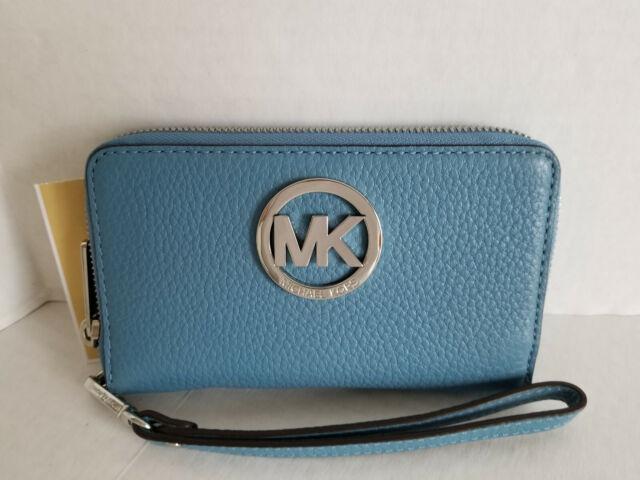 84d0d30210b2 Michael Kors Fulton Sky Leather Large Flat Multifunction Phone Case Wallet  NWT