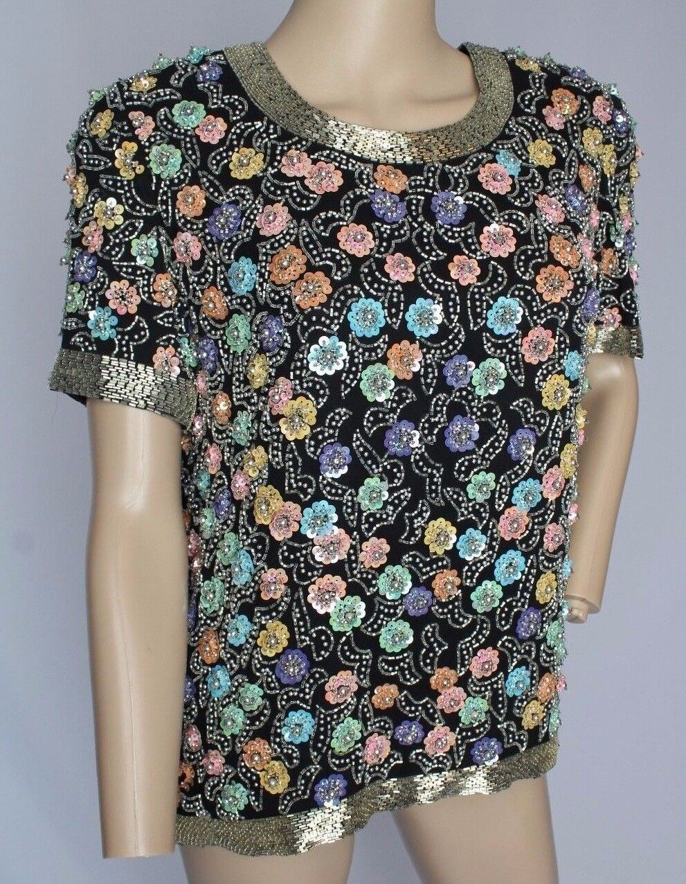 VTG schwarztie Oleg Cassini Sequin Beaded Flower Trophy Dress Top Blouse S