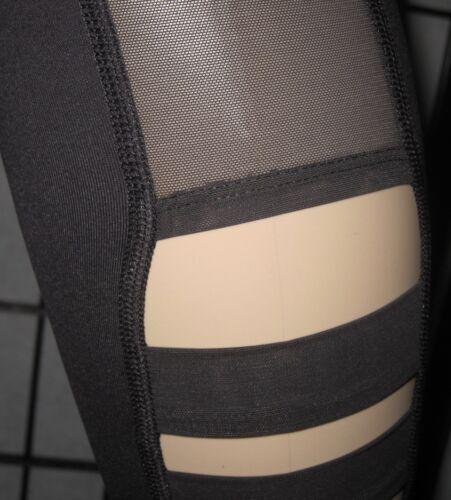 NWT VICTORIA/'S SECRET SPORT BLACK MESH STRAPPY SIDE KNOCKOUT YOGA TIGHT LEGGINGS