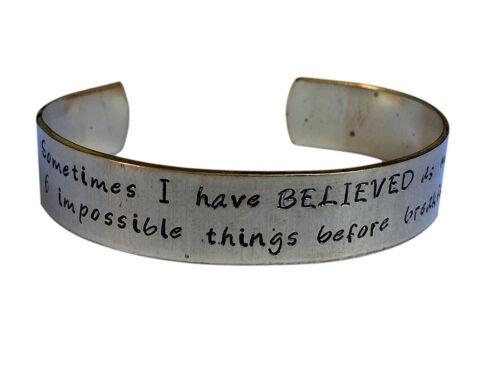 Alice in Wonderland Cuff Bracelet Hand stamped Bracelet Six impossible...Brass