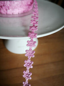 3m-Blumenband-Rosa-Rose-10mm-Dekoband-Stoffband-Mabella-Rose-Blumenform-Band