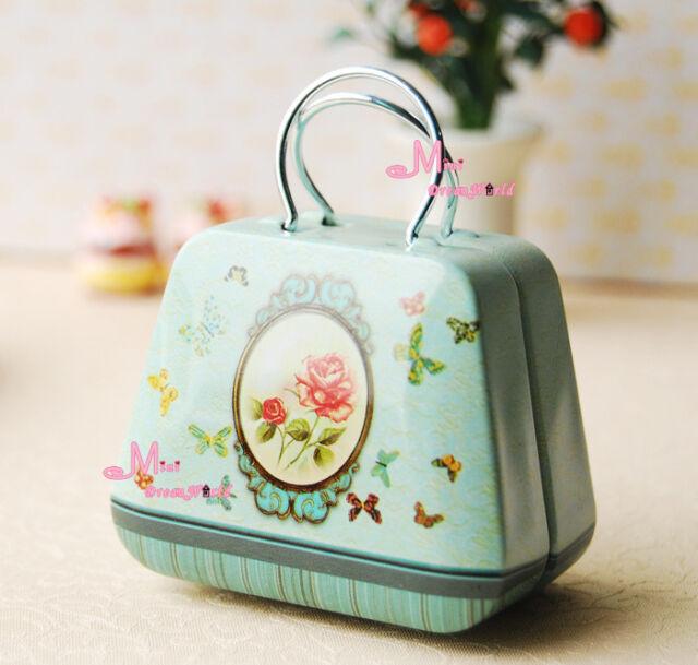 1/6 Barbie Blythe Dollhouse Miniature Green rose Metal Trunk box