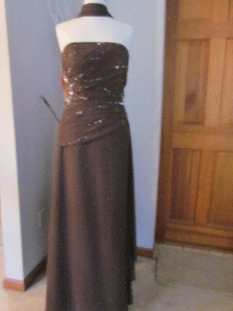 Jovani 730139 expresso, size 14-12, NWT strapless dress with shawl wirh rushing