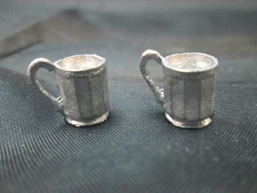 2 Dollhouse Miniature Unfinished Metal Rootbeer Mug