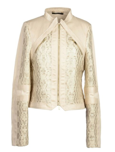 S/S 2004 TOM FORD for GUCCI GOLD TESSUTO and NUDE LEATHER JACKET *NEW with TAGS!