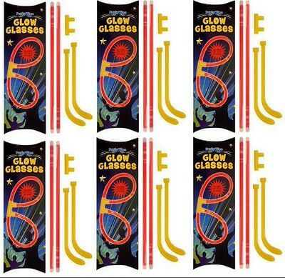 6x PAIRS OF GLOW GLASSES - Sun In The Dark Rave Fun Birthday Loot/Party Bag