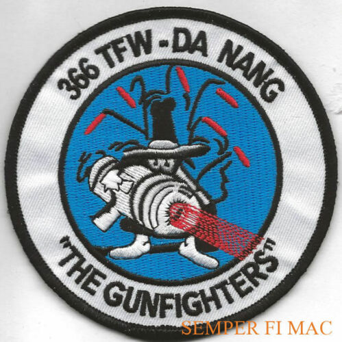 """366TH TFW THE GUNFIGHTERS HAT PATCH F-4 PHANTOM US AIR FORCE DA NANG PIN UP 3/"""""""