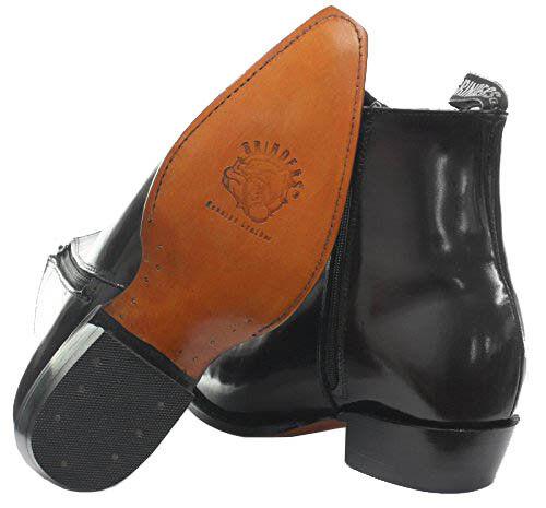 Grinders Austin alla Uomo Nero Vera Pelle Zip alla Austin Caviglia Tacco a Blocco Stivali Cowboy Western a2dc5c