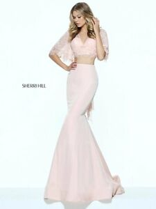 7e0e786ced3da Sherri Hill 50877 Blush Pink Stunning 2 Piece Crop Top Gown Dress sz ...