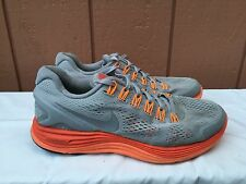 Nike Lunarglide+ 4 Mens 524977-009 Grey Orange Athletic Running Shoes US 8.5