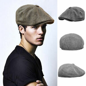 20115d0cef9 Men Women Newsboy Cap Peaky Blinders Wool Hat Baker Boy Golf Flat ...