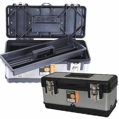 STAINLESS STEEL TOOL BOX 3 SIZES DIY HEAVY DUTY GARAGE STORAGE METAL TOOLS NEW
