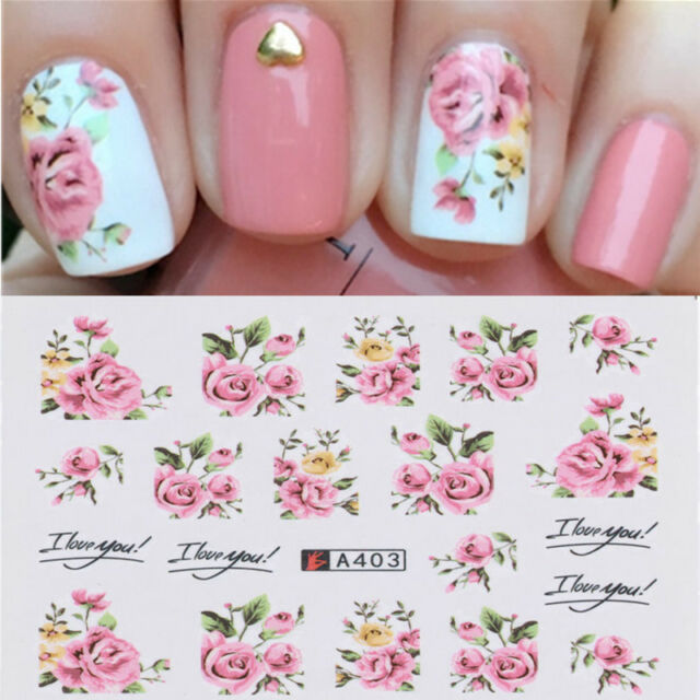 2 Sheets Nail Art Water Decal Rose Flower Design Transfer Stickers ...