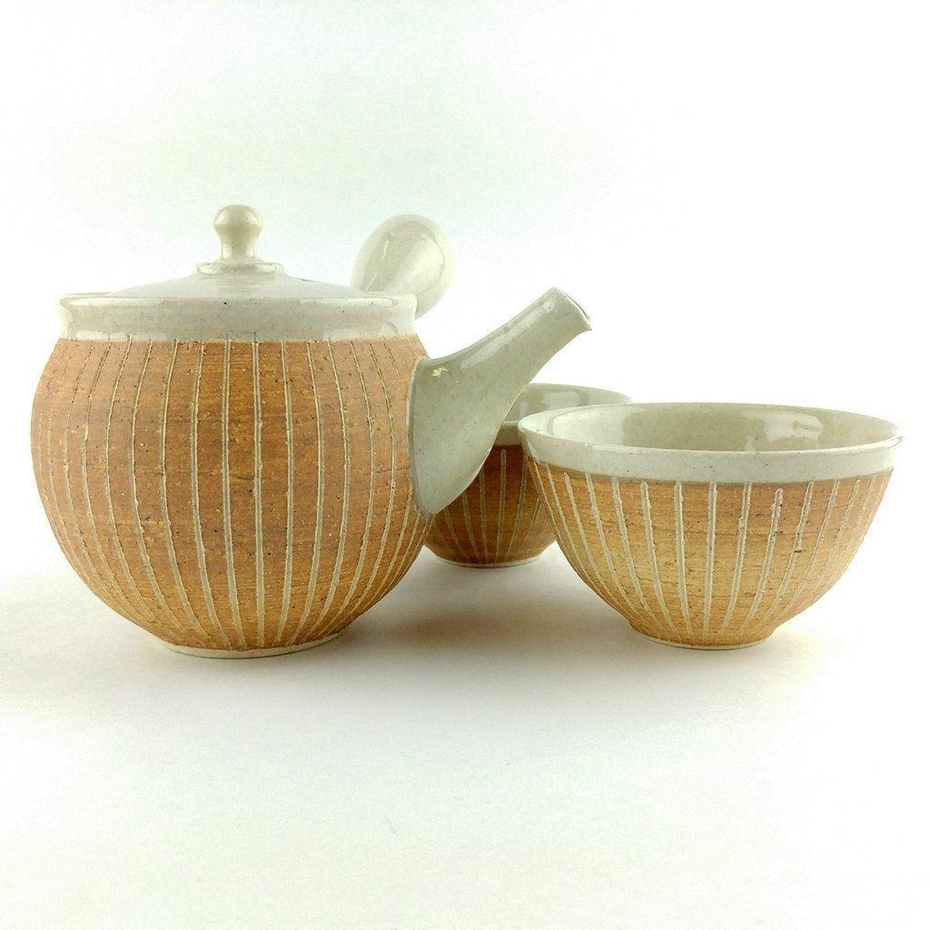 Japonais tokoname Kyusu Tea Set Artisan POTERIE par Jyunzo Maekawa