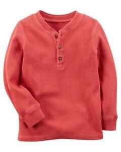 8f63ddd5 Carter's Infant Boys Orange Thermal Henley Long Sleeve Pullove Shirt ...