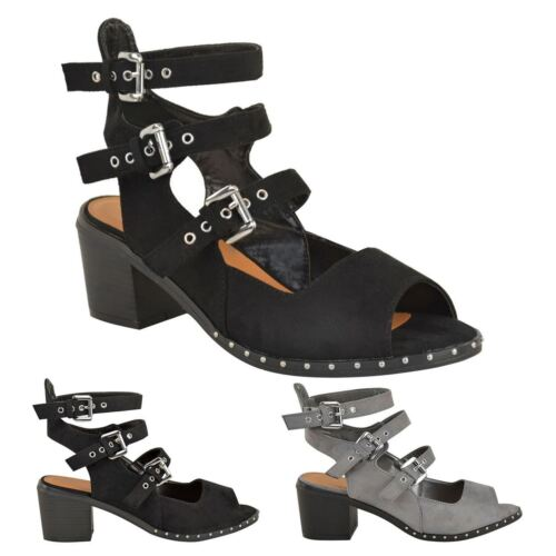 WOMENS LADIES MID BLOCK HEEL BUCKLE CUT OUT ANKLE STRAP SUMMER SANDALS SHOE SIZE