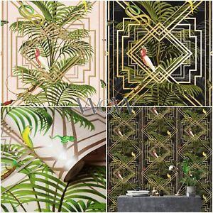 HOLDEN-CONGO-GEOMETRIC-METALLIC-WALLPAPER-ART-DECO-TROPICAL-ANIMALS-PALM-LEAVES