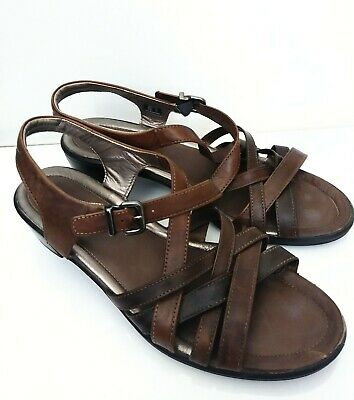 Ecco Ladies Brown Leather Strappy Sandals Flats Size UK 41 US 10M   eBay