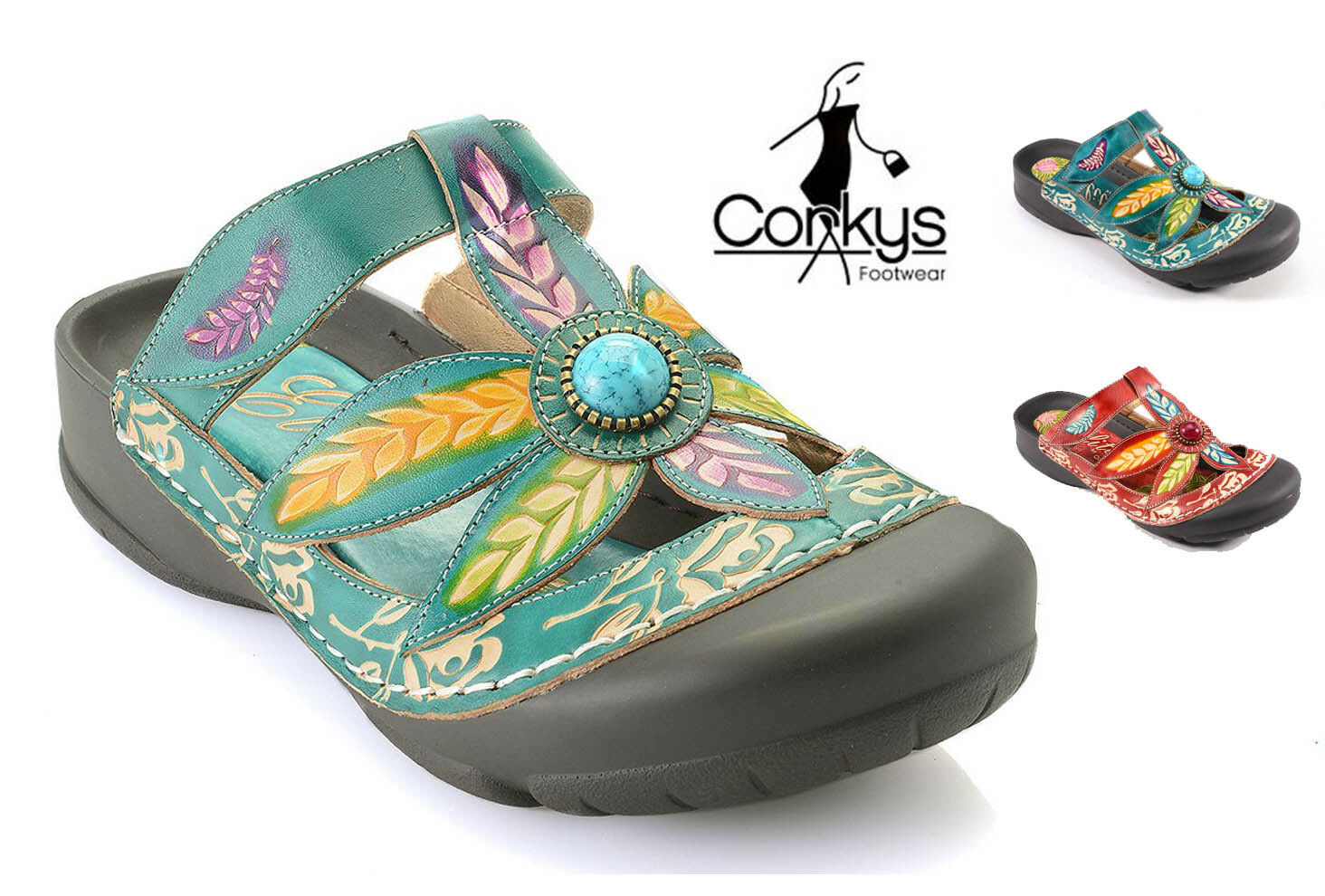 Corkys Womens Elite Coastal Hand Painted Leather Bump Toe Sandals