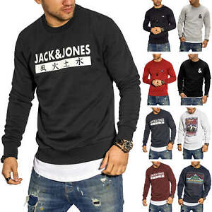 Jack-amp-Jones-Hommes-Sweatshirt-avec-Print-Col-Rond-Pull-Sweater-Chemise-manches-longues