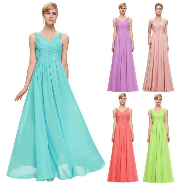 Long Maxi Chiffon Formal Turquoise Evening Dress Bridesmaid Party Prom Dresses