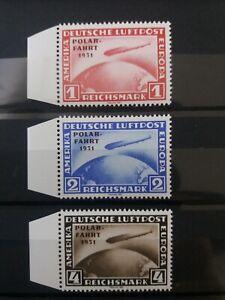 Polarfahrt-Deutsches-Reich-1931-DR-Zeppelin-Satz-Mi-456-458-Optik-postfrisch