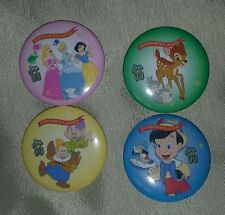 Disney Princess Bambi Pinocchio Button pin Set of 4 Hip Retro school Mickey