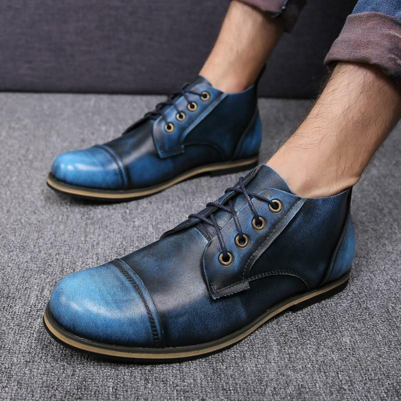 Mens shoes Classic lace-up Vintage round toe British Dress boots Work Casual