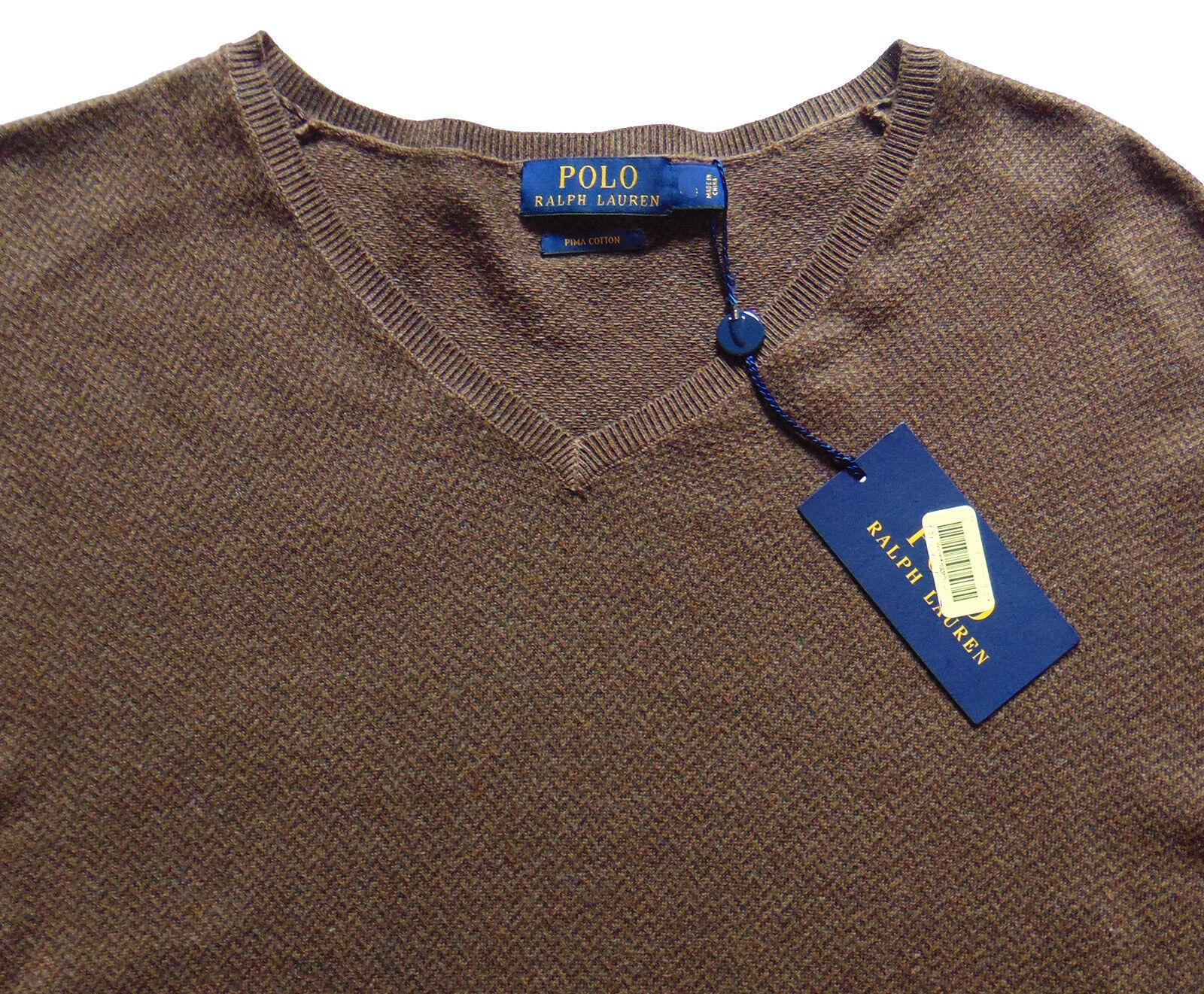 Men's POLO RALPH LAUREN Brown Herringbone Pima Cotton Sweater Large L NWT NEW