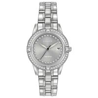 Citizen Eco-Drive Women's Crystal Accents Silver-Tone 29mm Watch (Silver)