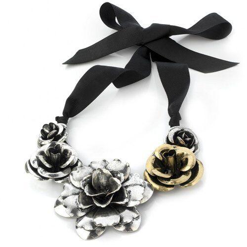 Antique Gold /& Silver Flower Roses Corsage Bib Statement Ribbon Choker Necklace