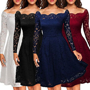 4c49754f87 Image is loading Women-Floral-Lace-Formal-Cocktail-Evening-Party-Dress-