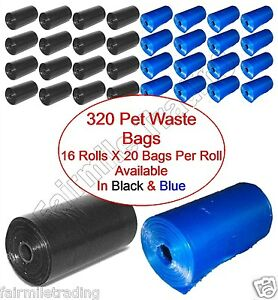 320 Pet Waste Bags Dog Cat Poo Poop Pooper Scooper Toilet On a Roll Refill