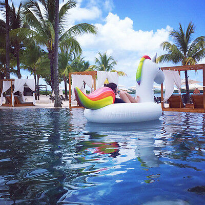 Giant Inflatable Unicorn Rainbow Pool Float Raft Swimming Water Fun Sports Toy