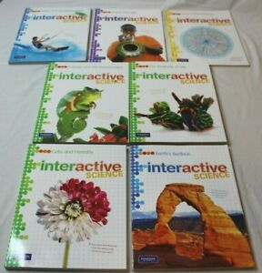 Lot-of-7-Pearson-Interactive-Science-Middle-School-Worktexts-Workbook-Set-New