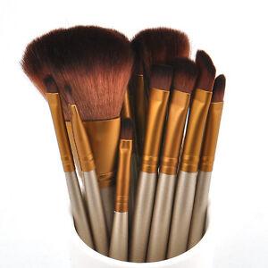 Pro-Maquillaje-Sombra-de-ojos-en-polvo-Fundacion-12pcs-Juego-De-Brochas-Delineador-De-Labios