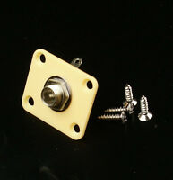 Universal Electric Guitar Output Jack Plate Socket ,square /plastic /cream
