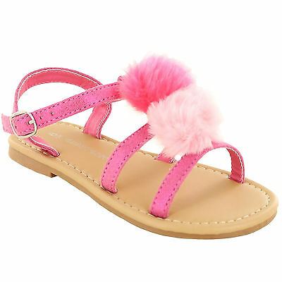 GIRLS SUMMER SANDALS CHILDRENS TODDLERS CASUAL FLAT BEACH HOLIDAY FLIP FLOP SHOE