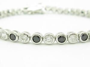Platinum-Sterling-Silver-Black-amp-White-Sapphire-Round-Cut-Bezel-Tennis-Bracelet