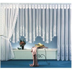 Store-Gardine-Jacquard-Weiss-Bogenstore-Vorhang-Blumen-Borduere-Kraeuselband-Typ113