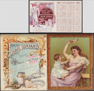 Liebig-1896-RARE-Pocket-Calendar-English-Language-Chef-Advertising-Trade-Card