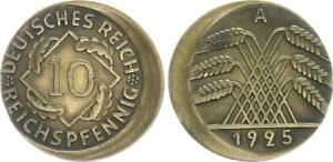 Weimar 10 Pfennig 1925 A Lack Coinage: 15% Dezentriert Vf-Xf