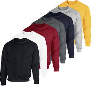 Men-Women-Sweatshirt-Crew-Neck-Plain-Design-Cotton-Jumper-Fleece-Sport-Casual