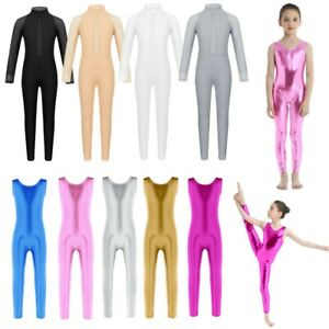 Girls-Shiny-Gymnastics-Leotard-Mock-Neck-Ballet-Dance-Jumpsuit-Catsuit-Dancewear